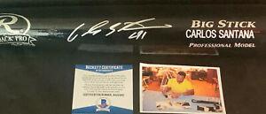 Carlos Santana Royals Indians Autographed Signed Pro Model Bat Beckett COA