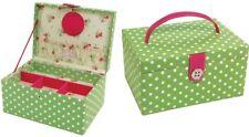 LC Designs Button It Medium Green & Pink Polka Dot Sewing Box 82302