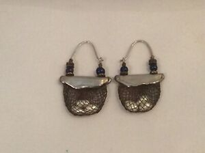 Vintage Artisan Made Silver/Pearl/Copper/Glass earrings, UNIQUE, one of a kind