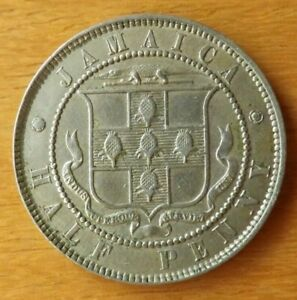 Jamaica British Halfpenny Coin 1891 Almost UNC Grade Toned Scarce.....