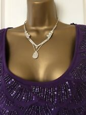Ladies Per Una top in purple with rows of beaded frills to neck size 14