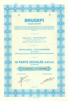 Brugefi SA, certificado de 10 acciones, 1985 (Societe Agricole du Mayumbe)