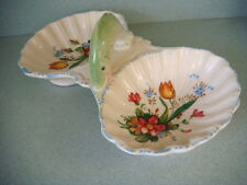 Pretty vintage ceramic 2-sided bowl with fish adornment made in Italy