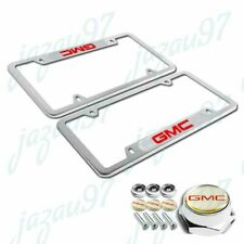 For GMC Silver License Plate Frame Stainless Steel Metal New 2pcs W/ Bolts Set