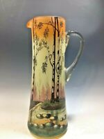 """Unsigned French Art Glass Legras Style Hand Painted/Enamel Pitcher - 12 1/4""""H"""