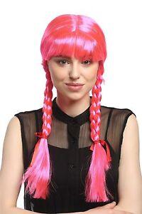 Perücke Damen Karneval Cosplay Fasching Zöpfe geflochten Schulmädchen Rosa Pink