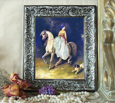 Sidesaddle Lady DEDREUX Arabian Horse Art Print Antique Style Framed 11X13