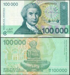 Croatia (Republika Hrvatska) 1993 100000 Dinara (Gem UNC).