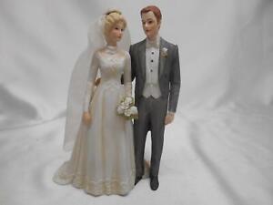 SOMETHING OLD 1984 Enesco Treasured Memories WEDDING CAKE TOPPER BRIDE GROOM