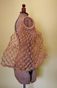 vintage shopping beach bag tote natural fibre net handmade