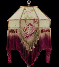 VICTORIAN LAMPSHADE Pink and Burgundy Roses Light Gold Fabric Silk Fringe Beads