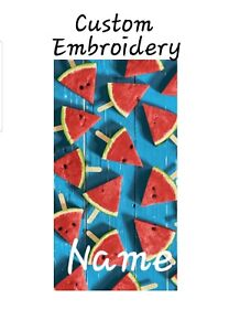 """Personalized Watermelon Velour Beach Towel 34"""" x 64""""  Novelty Gift"""