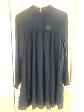 Black Smock Dress Sheer Long Sleeve Midi Flattering Apple Shape Maternity 16