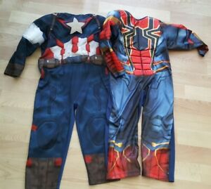 BOYS FANCY DRESS SUPERHERO COSTUMES - SPIDERMAN & CAPTAIN AMERICA AGE 3-4 YEARS