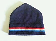 Vintage 80s beanie hat wool? red white blue navy striped