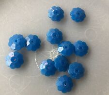 Vintage Japan Opaque Yummy Blue Flower Stacker Rondell Lucite Bead Lot