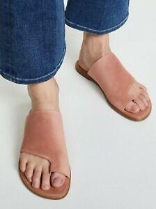 Vince Edris Nude Leather Toe Ring Slides Size 8.5