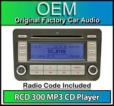 Vw RCD 300 Mp3 Reproductor De Cd Radio, Caddy Car Stereo Unidad Principal Con Radio código