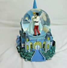 Disney Cinderella & Prince Charming Snow Globe Staircase Castle Godmother Cat