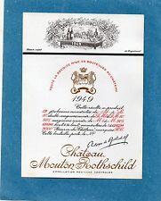 PAUILLAC 1EGCC ETIQUETTE CHATEAU MOUTON ROTHSCHILD 1949 36 CL DECOREE §26/06/17§