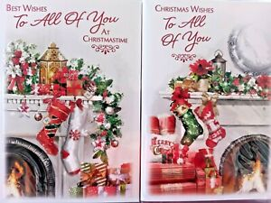 TO ALL OF YOU CHRISTMAS CARD  ~ CHOICE OF 2 STOCKING DESIGNS ~ QUALITY CARD