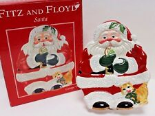 2004 Fitz and Floyd Classics Cookie Eating Santa Kitty Canape Plate in Box