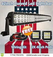 """42inch Curved Led Light Bar + 2X Free 4"""" Cree Pods Offroad Lighting Truck SUV 40"""