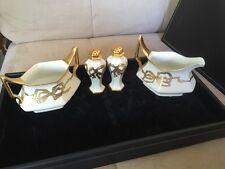 FRANCE ANTIQUE LIMOGES T&V DEPOSE CREAMER SUGAR SALT PEPPER SET IVORY GOLD BOWS