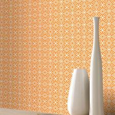 RETRO GEOMETRIC WHITE & ORANGE QUALITY FEATURE DESIGNER WALLPAPER RASCH 277210