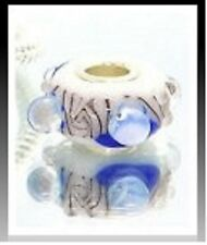 Blue White Bubble Murano Lampwork Glass Bead fit European Bracelet Necklace