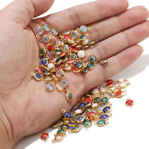 30pcs Gold Stainless Steel Glass Crystal Connectors Gem Stone Charm Bead for DIY