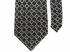"Bocara Men's 100% Silk Knit Plaid Neck Tie Brown/Blue Multi 3 7/8"" x 60"""