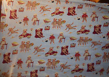 Nick & Nora Sock Monkey Cotton Flannel Knit Twin Flat Bed Sheet Only