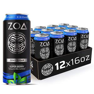 ZOA Zero Sugar Energy Drink, Super Berry, 16 oz. 12 Pack - Supports Immunity, &