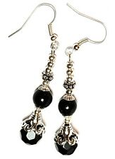 Long Classy Dangly Silver Black Earrings Glass Bead Antique Vintage Style