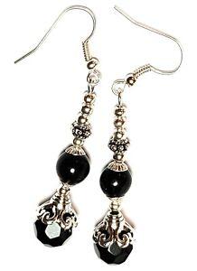 Long Classy Dangly Silver Black Earrings Glass Bead Antique Vintage Boho Chic
