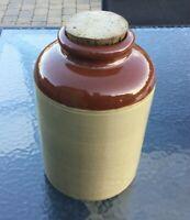 Vintage Large Lovatts Glazed Crock Stoneware Preserve Jar Cork Lid Brown Beige