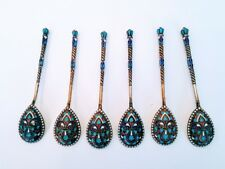 6 Antique Russian Silver 84 Enamel Spoons Hallmarked With Makers Mark