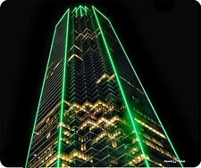 Green Neon Lights Downtown Dallas Texas Building Thick Mousepad by Atomic Market