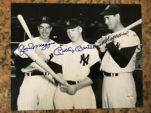Joe DiMaggio, Mickey Mantle, & Ted Williams  Autographed 8x10 Photo w/ COA