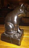 Vintage Cat Figure Statue Doorstop Heavy Egyptian Pose Housecat 6 lbs LargeCrack