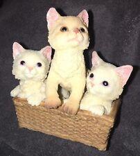 NIB Stone Critters Figurine Three Kittens in a Basket SC-1625