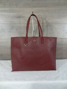 Tory Burch Burgundy Leather Tote Shoulder Bag Handbag Purse