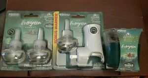 NEW Glade Icy Evergreen Forest Plugins 3 Oil Refill Warmer and Candle Bundle