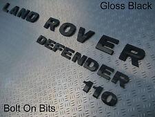 Badges Bonnet LAND ROVER & Rear DEFENDER 110 BLACK 3D Self Adhesive Raised REF13