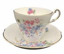 Regency Porcelain Cup Saucer Set Spring Pink Blue Flowers Gold Trim England