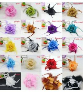 5/10Pcs Rose Flower Fabric Corsage Hairpin Brooch Wedding Party Festive Dress Up