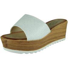 b201fd2203c2 Womens Slip on Wedges Ladies Platform Cleated Sole Mid Wedge Heel Shoes  Size UK 4
