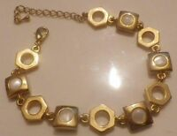 Bracelet bijou Rétro couleur or maillon carré cabochon nacré * 5217
