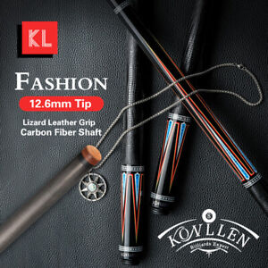 KONLLEN Carbon Fiber Pool Cue Leather Grip 3/8*8 Radial Pin Technology Shaft